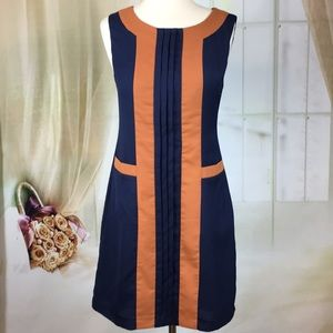 Esley Sleeveless Blue & Tan Career Dress